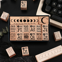 1Set Vintage 12 Monate Zahlen Mond Dekoration Stempel Holz Stempel Für Scrapbooking Schreibwaren DIY Handwerk Standard Stempel