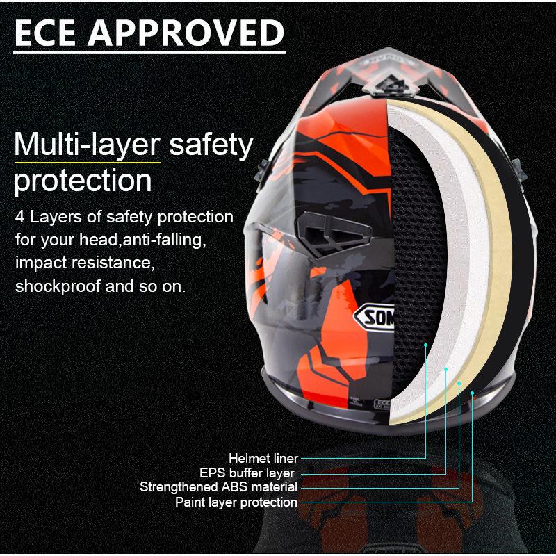 Top SaleSOMAN Motocross Helmet Goggles Casco Dirt-Bike Racing MX SM633 Dh