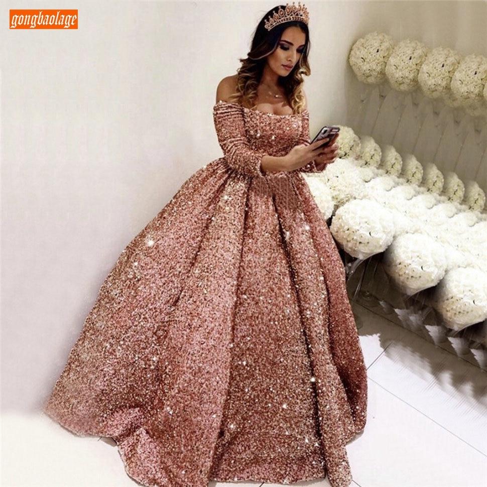 Sparkly Pink Prom Dresses Long Sleeve Sequin Lace Up Ball Gown Vestidos De Fiesta Largos Elegantes De Gala 2020 Reflective Dress