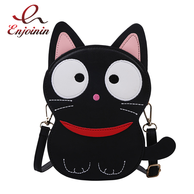 Cute Fun Black Cat Design Fashion Purses And Handbags Casual Shoulder Bag Crossbody Bag Girl's Tote Bag Pu Leather Clutch Bag