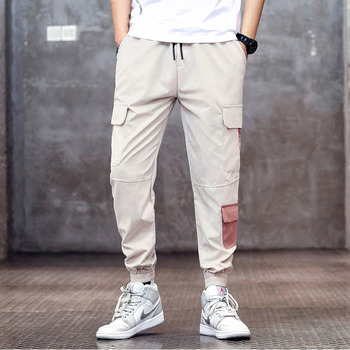 Men cargo pants 2020 new spring and autumn beige pockets cotton letter male ankle-length pants teenager boys sale hot n63 men cargo pants 2019 new arrival spring and autumn black pockets plus size male ankle length pants korean style hot sale n07