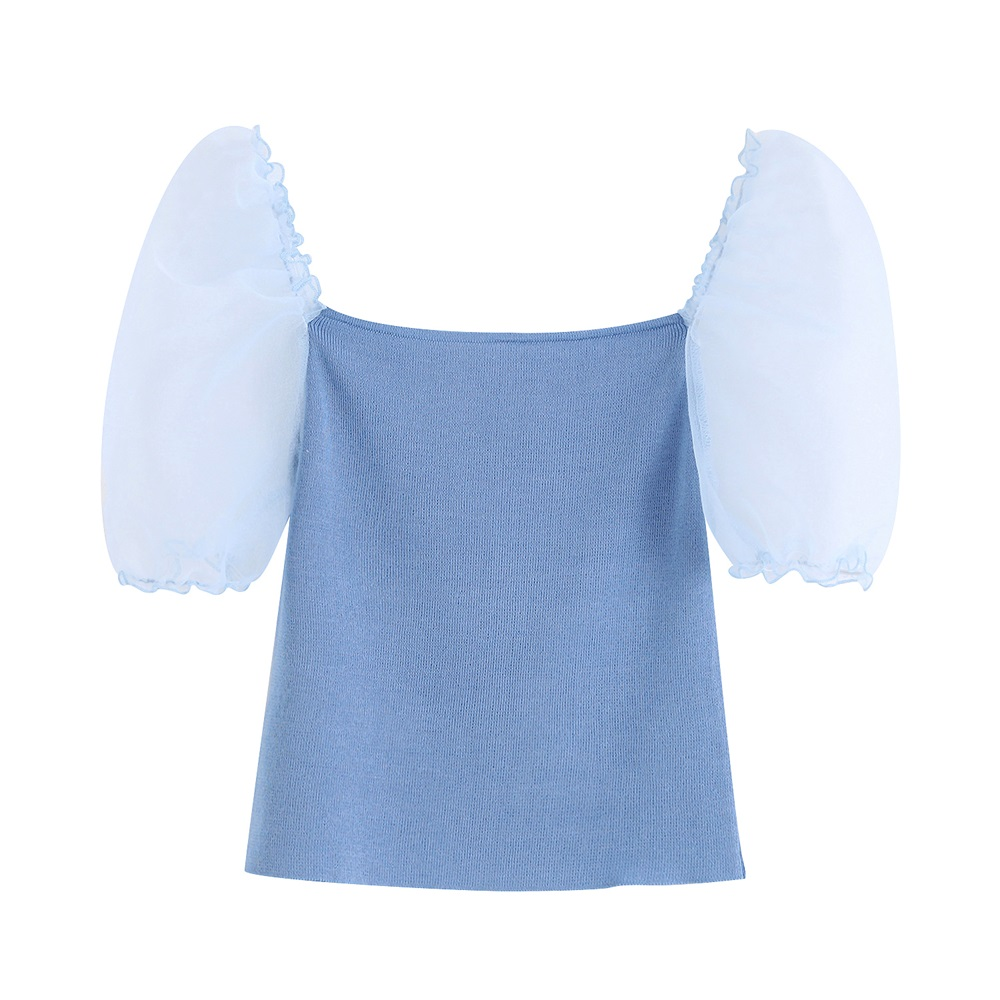 New Style French Retro Collar Super-immortal Design For Summer Women's Wear In 2019 With Sensory Screen Yarn Stitching And Fluff