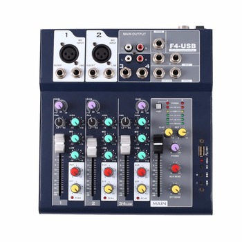 F-4 4 Channel Professional Live Mixing Studio Audio Sound Console Network Anchor Portable Mixing Device Vocal Effect Processor
