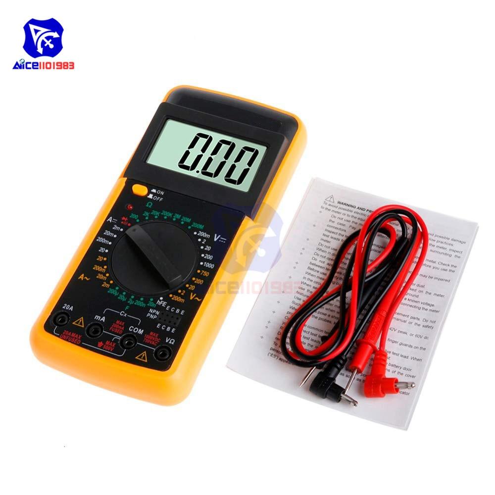 Diymore DT9205A Digital LCD Multimeter AC/DC Ammeter Voltmeter Ohmmeter Resistance Detector Capacitance Tester With Test Lead