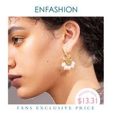 Enfashion天然真珠フープイヤリング女性ゴールドカラーかわいい小円フープイヤリングファッションジュエリーoorbellen E191117