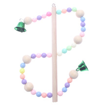 Wooden Parrots Swing Toy Birds Perch Hanging Swings Cage With Colorful Beads Toys Bird Toy children s toys swings for children indoor and outdoor household three in one baby swing outdoor hanging chair baby swing nest