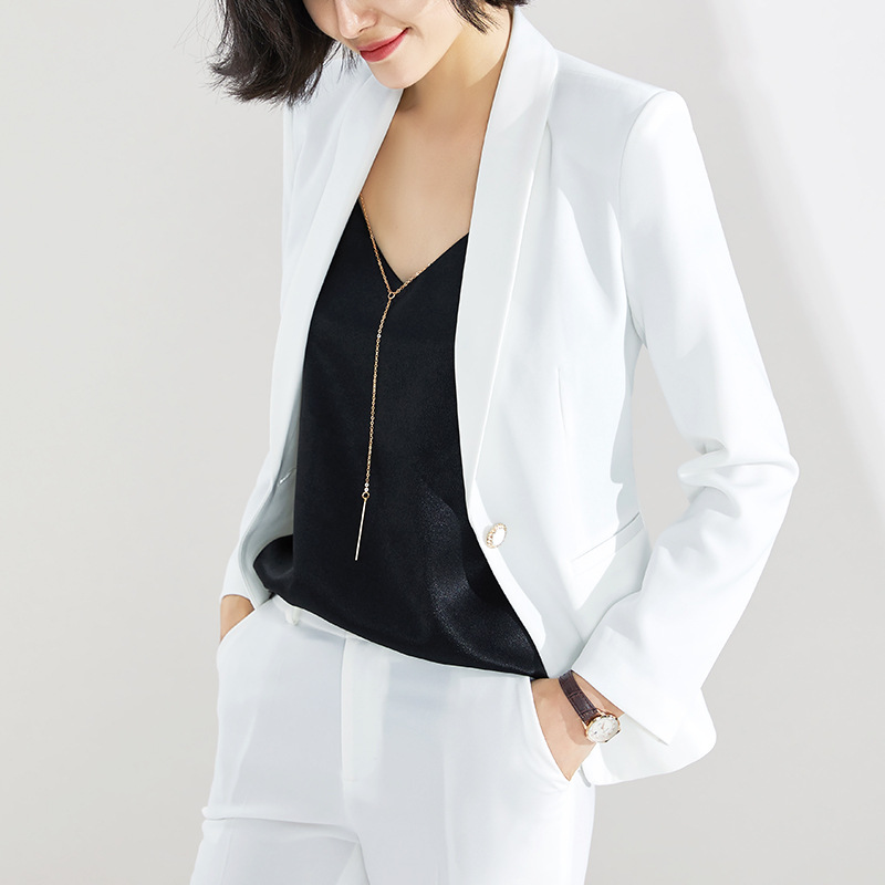 Yellow suit suit woman  new long-sleeved small suit lady temperament high-end business dress OL work womens suits set 2 pieces