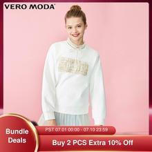 Vero Moda Women's Cotton Tweed Letters Sweatshirt | 320133503