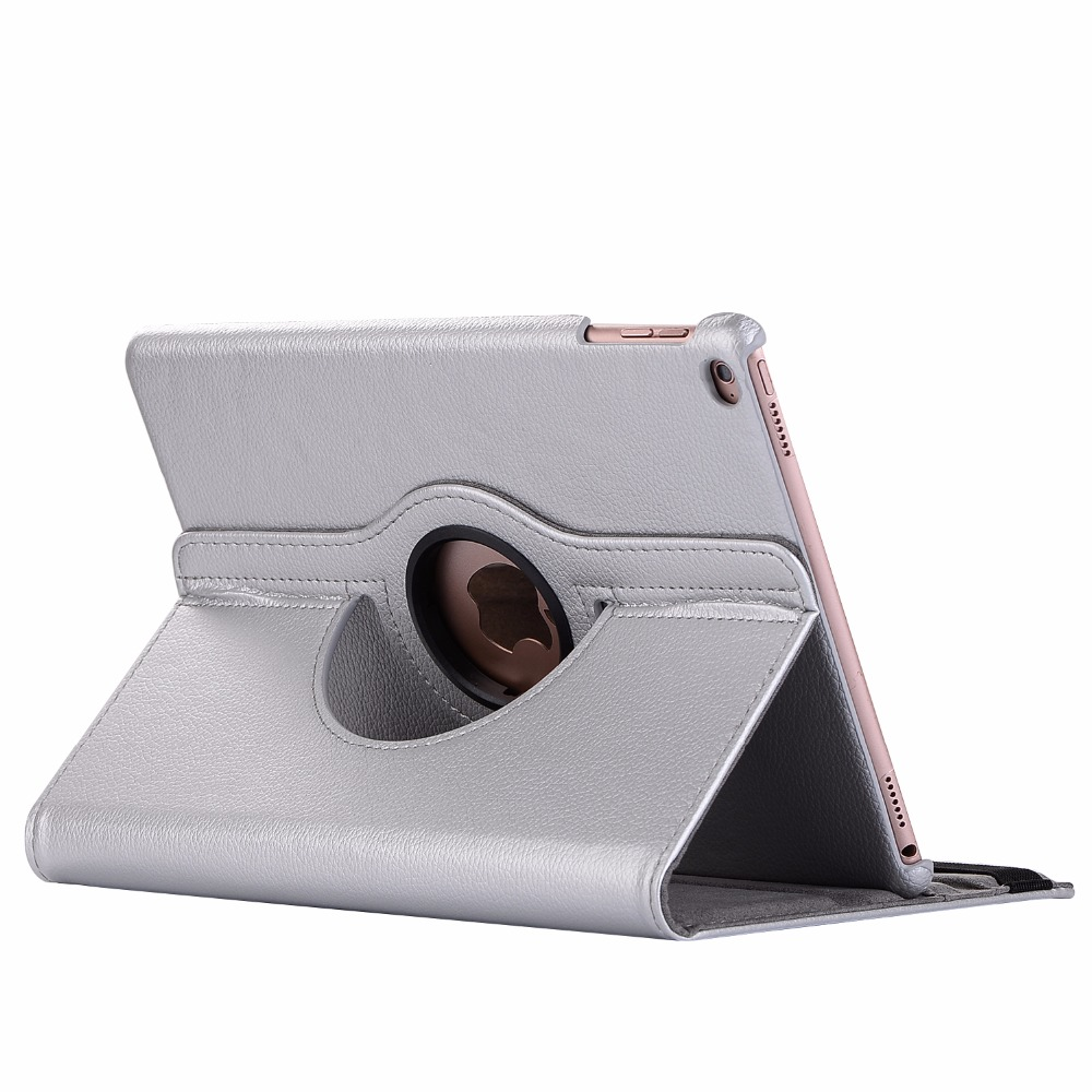Silver Gray 360 Degree Rotating PU Leather Flip Cover Case For iPad 10 2 2020 2019 8th 7th