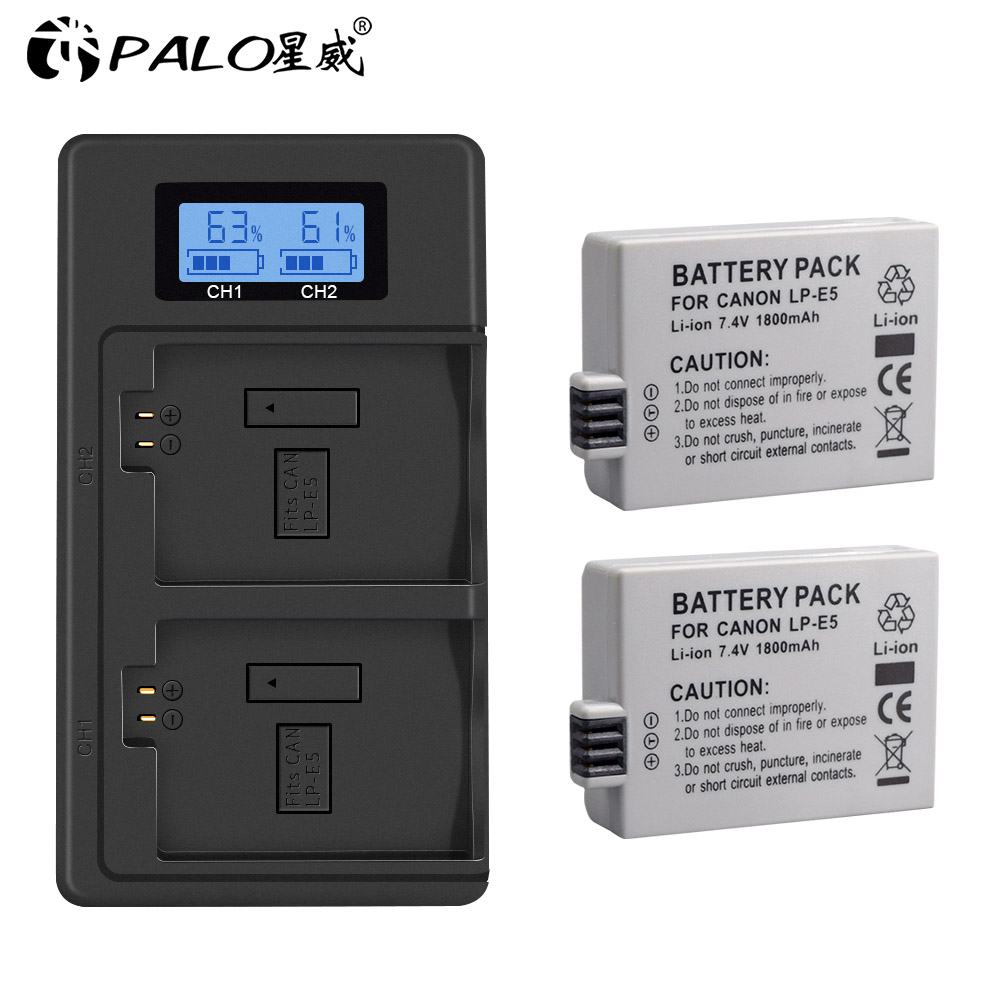PALO 7.4V 1800mAh LP-E5 LPE5 LP E5 Camera Battery+LCD USB Charger For Canon EOS Rebel XS, Rebel T1i, Rebel XSi, 1000D, 500D,L10 image
