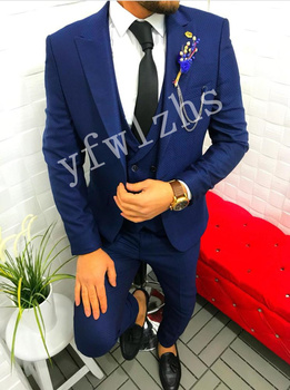 Handsome Groomsmen Peak Lapel Groom Tuxedos Mens Wedding Dress Man Jacket Blazer Prom Dinner (Jacket+Pants+Tie+Vest) A129