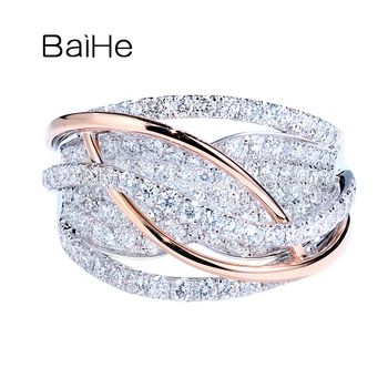 BAIHE Solid 14K White+Rose Gold 1.4ct Round cut Natural Diamonds Fine Jewelry Wedding Ring Engagement Gift Trendy Diamond Ring 1