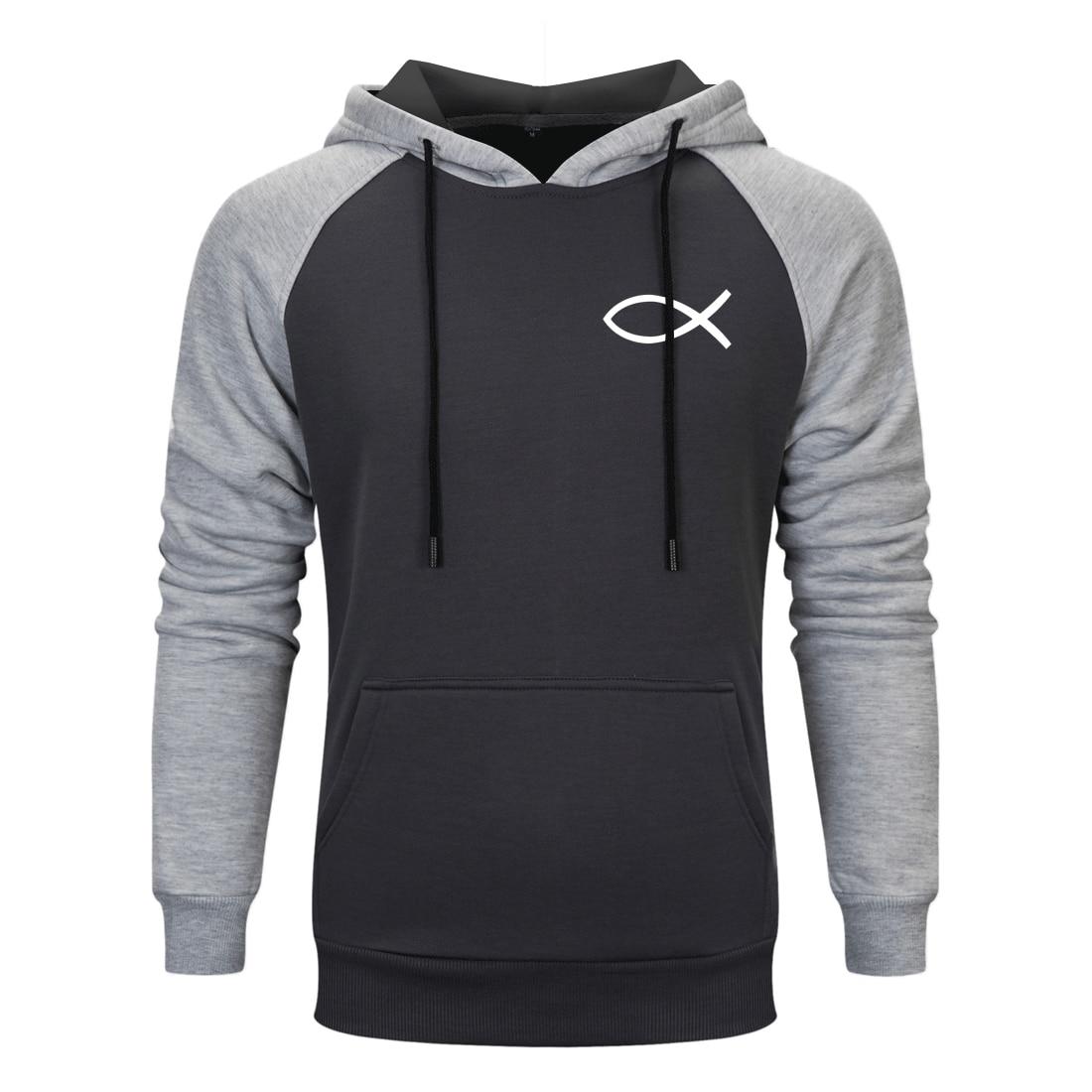 Spring Autumn Man Raglan Hoodies 2020 New Jesus Fish Simple Printed Sweatshirts Hoody Streetwear Warm Clothing Homme Tracksuits