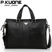 P.kuone fashion luxury brand men bag genuine leather handbag shoulder bags busin