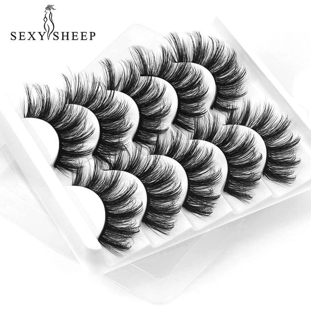 Sexysheep 5 pares 3d vison cílios postiços natural/grosso longo olho cílios wispy maquiagem beleza extensão ferramentas 2
