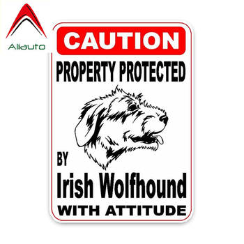 Aliauto Funny Stickers Property Protected By Irish Wolfhound Dog Sketch Decoration Car Sticker Waterproof Decal,11cm*8cm image