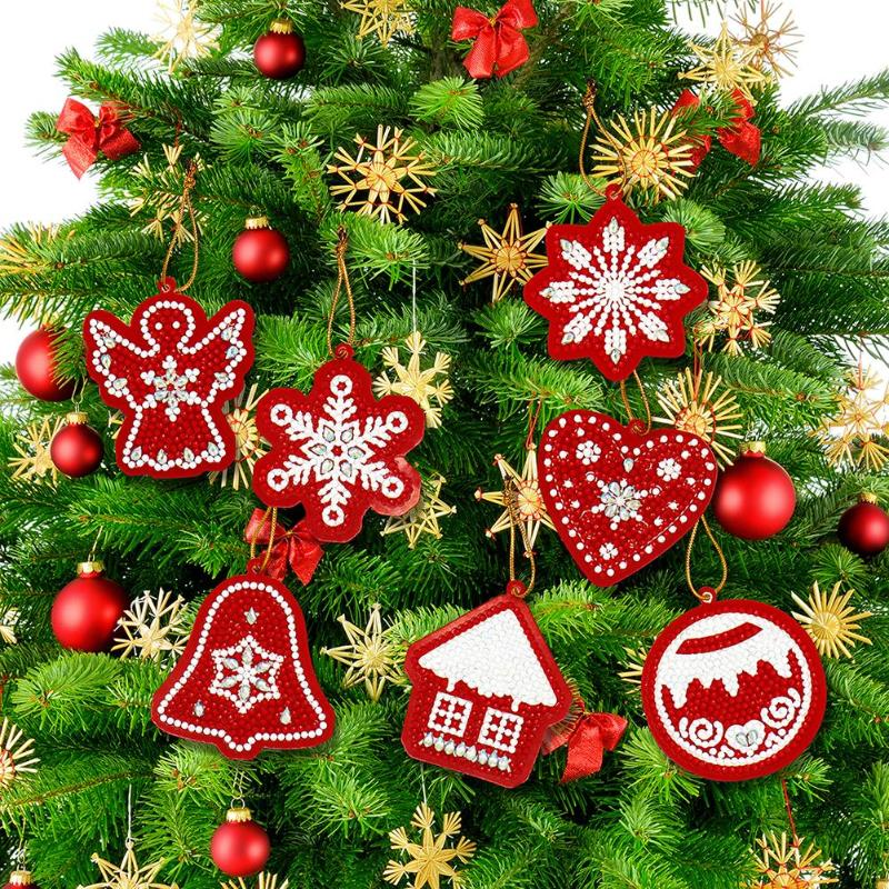 10pcs DIY Xmas Ornaments Diamond Painting Full Drill Special Shape Christmas Tree Pendants Window Decorative Accessories