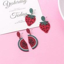 Hello Miss New Cartoon Strawberry Pendant Earrings Personality Fruit Stud Fashion Womens Jewelry Gifts