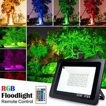Inundação de led rgb, à prova d água, 100w 50w 30w 220v 230v, colorido, controle remoto, parede projetor de lâmpada de jardim,