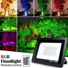 RGB HA CONDOTTO LA Luce di Inondazione Impermeabile di 100W 50W 30W 220V 230V di telecomando colorato Applique Da Parete per Esterni lampada Da Giardino Proiettore