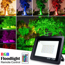 RGB LED フラッドライト防水 100 ワット 50 ワット 30 ワット 220V 230V カラフルなリモコン屋外壁ランプ庭プロジェクター