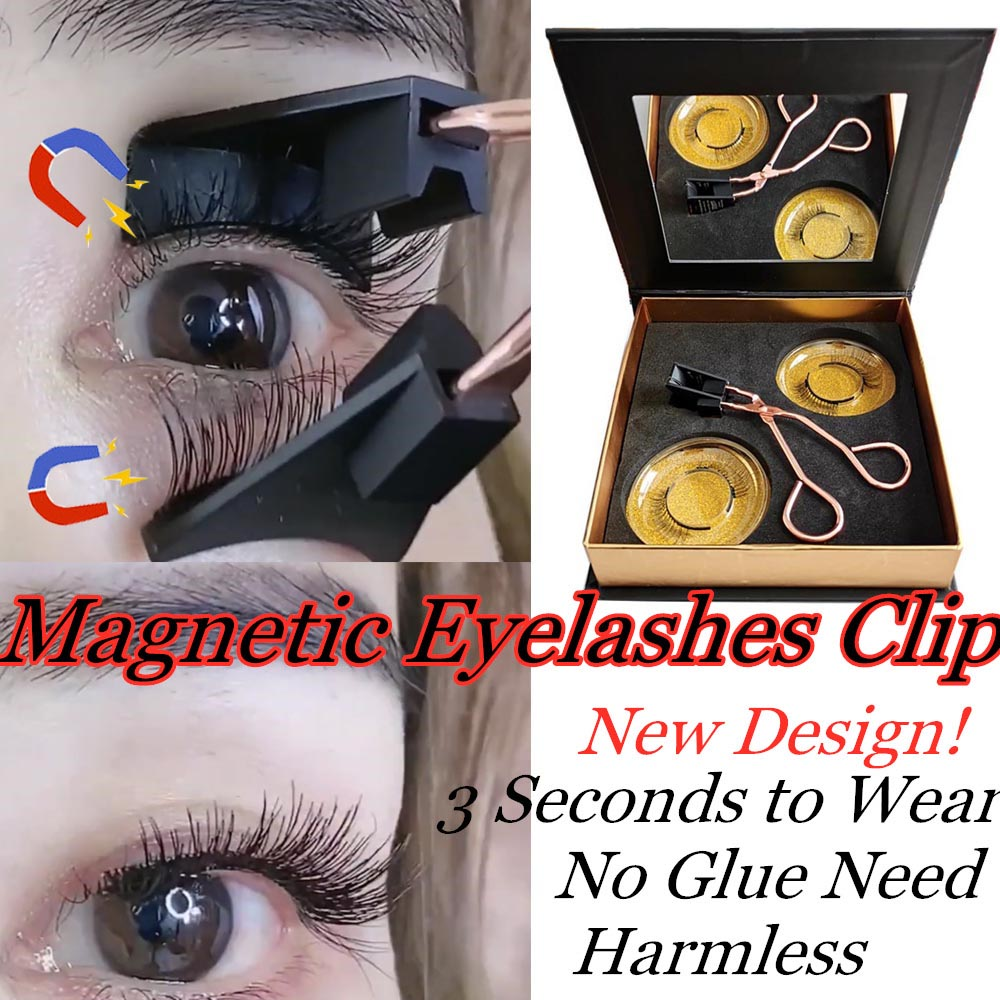 1Set Magnetic Eyelashes Applicator Clip Need Easy Apply Eyelashes Handmade Reusable Dual Magnets Eyelash Extension No Glue Set