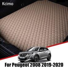 De cuero estera de maletero de coche para Peugeot 2008 P24 2019 2020 de carga de almohadilla para botas Auto accesorios Decoración