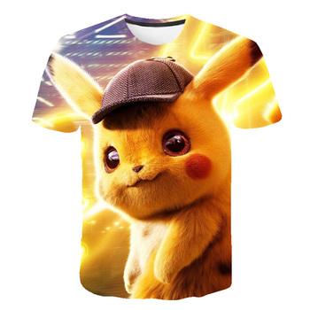 Seria Pokémon drukowane koszulki chłopcy dziewczęta ubrania 3D lato dzika twarz dorywczo krótki rękaw dzieci Cosplay Kawaii koszulka Pokemon tanie i dobre opinie POLIESTER CN (pochodzenie) 4-6y 7-12y 12 + y Damsko-męskie moda W stylu rysunkowym REGULAR Z okrągłym kołnierzykiem