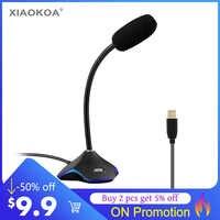 XIAOKOA CK Flexible Microphone à condensateur USB pour ordinateur avec lumière LED pour l'enregistrement de jeux