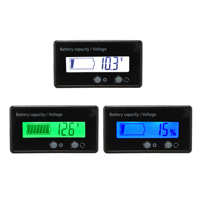 12V 6-63V LCD Car Lead Acid Lead Lithium Battery Charge Level Capacity Indicator Meter  Digital LED Tester Voltmeter Display