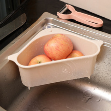 New Kitchen Triangular Sink Strainer Drain Vegetable Fruit Drainer Basket Suction Cup Sponge Rack Storage ToolSink Filter Shelf