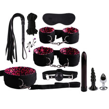 Leopard handcuffs ankle women's many toys Handcuffs Nipple Clamps Whip Spanking Sex Silicone Metal Anal Plug Butt Bdsm Vibrator