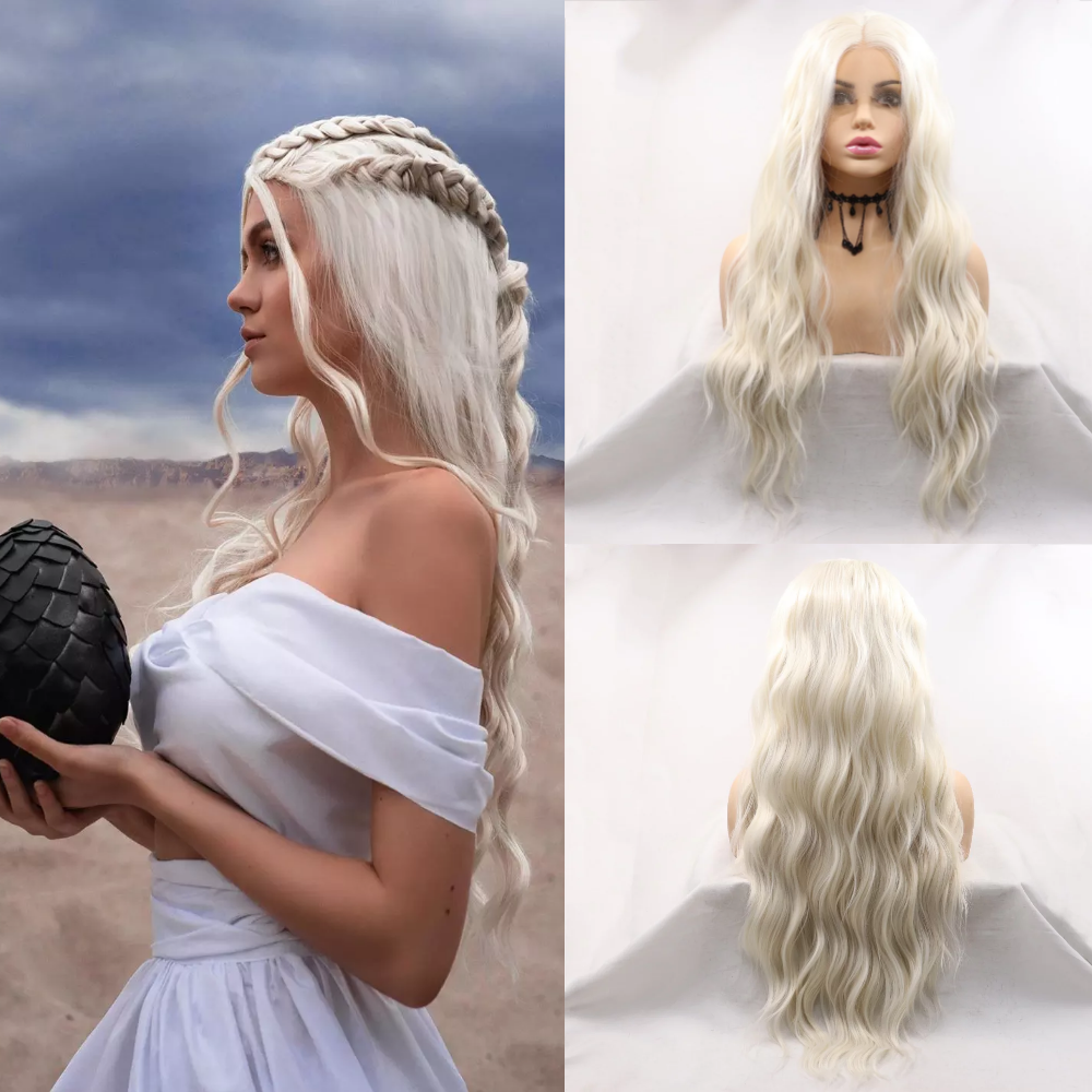 Sylvia Loose Wave Synthetic Lace Front Wig Middle Part Long Blonde Wigs Heat Resistant Cosplay Wig Natural Looking Glueless Wig