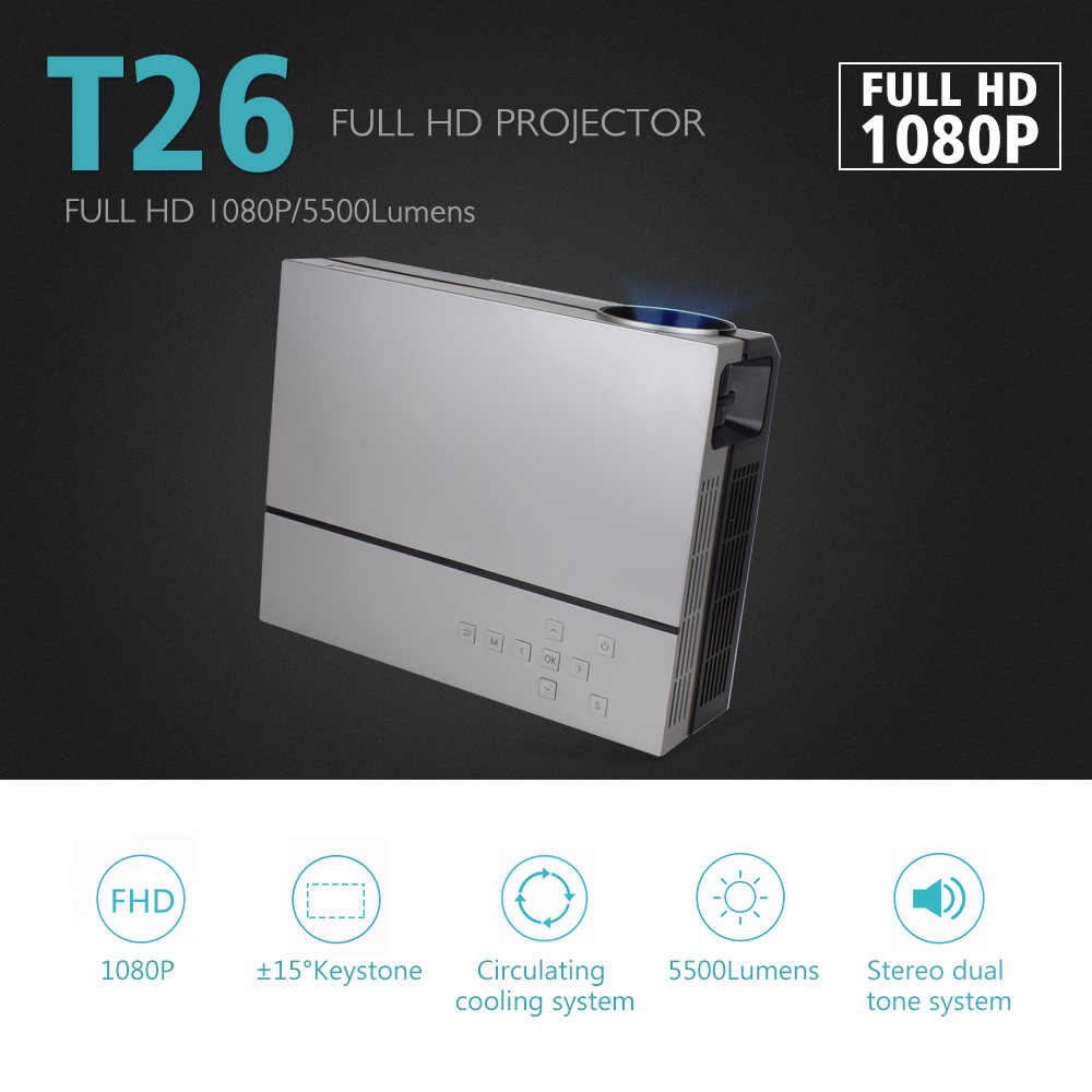 ThundeaL projektor full hd T26K natywny 1080P 5500 lumenów wideo led kino domowe kino hdmi vga USB TV 3D T26L T26 Beamer