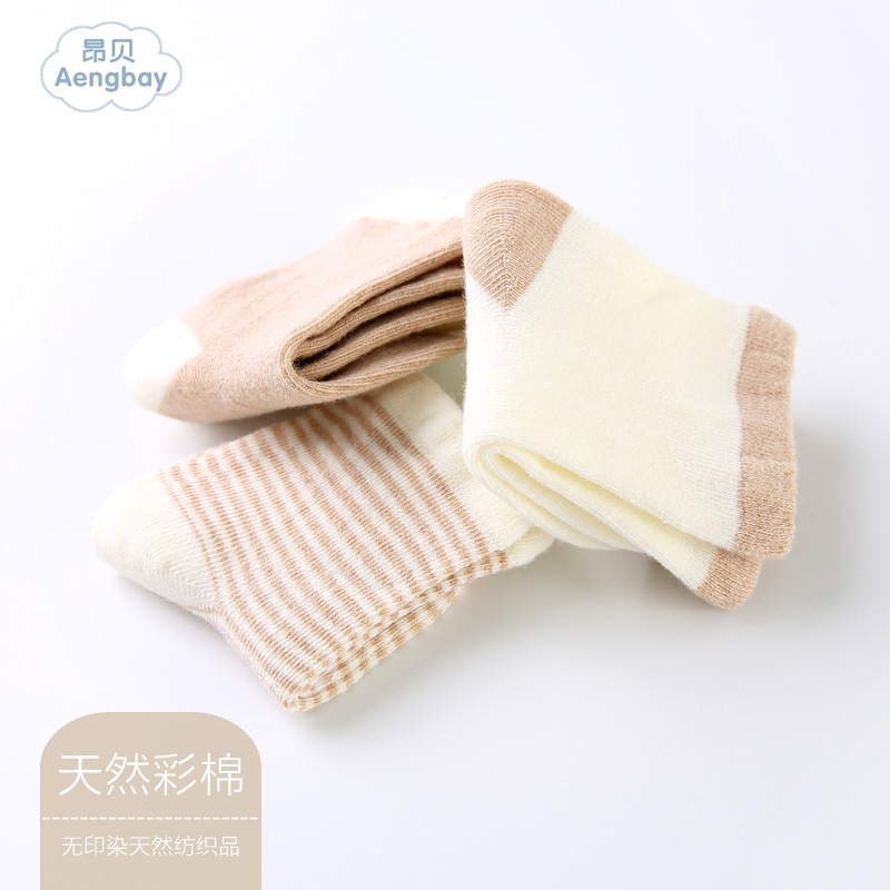 Ang Bei Newborns Infant 0-6 Month Autumn Pure Cotton Socks 0-1-Year-Old Men And Women Baby Socks Relent
