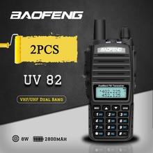 2 個 8 ワットデュアルバンド Baofeng UV 82 トランシーバーデュアル PTT 双方向ラジオポータブル UV 82 トランシーバ UV82 cb 無線局