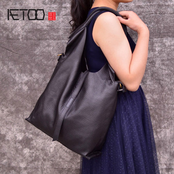 AETOO Brand Cow Leather Tote Bags Designer Cowhide Handbags Women Shoulder Bags Fashion Female Large Capacity Liner Bag