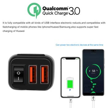 WUPP Motorcycle Vehicle-mounted Charger Waterproof USB Adapter 12V Phone Dual Quick Charge 3.0 Voltmeter Switch Moto Accessory