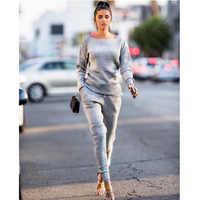 Meihuida Women Jogger Casual Simple Daily Spring Sets Solid Tracksuit Hoodies Sweatshirt Pants 2Pcs Suits Sport Wear