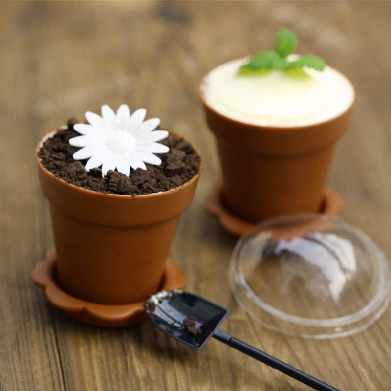 30pcs Flowerpot Cake Cups With Lid Shovel Scoop Bottom Tray Plastic Yogurt Cup Dessert Container For Ice Cream Mousse