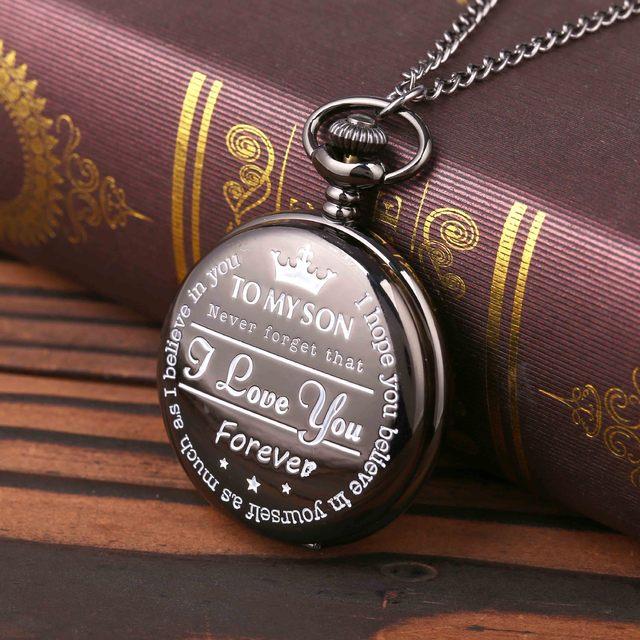 """To My Son I Love You ""Series Pocket Watch Fashion Retro Roman Numeralsx Pocket Watch Pendant With Chain Quartz Unisex Nice Gift 1"
