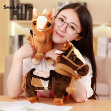 цена Simulation horse plush animal toy cute horse unicorn electric plush baby fun to accompany the doll for children surprise gift онлайн в 2017 году