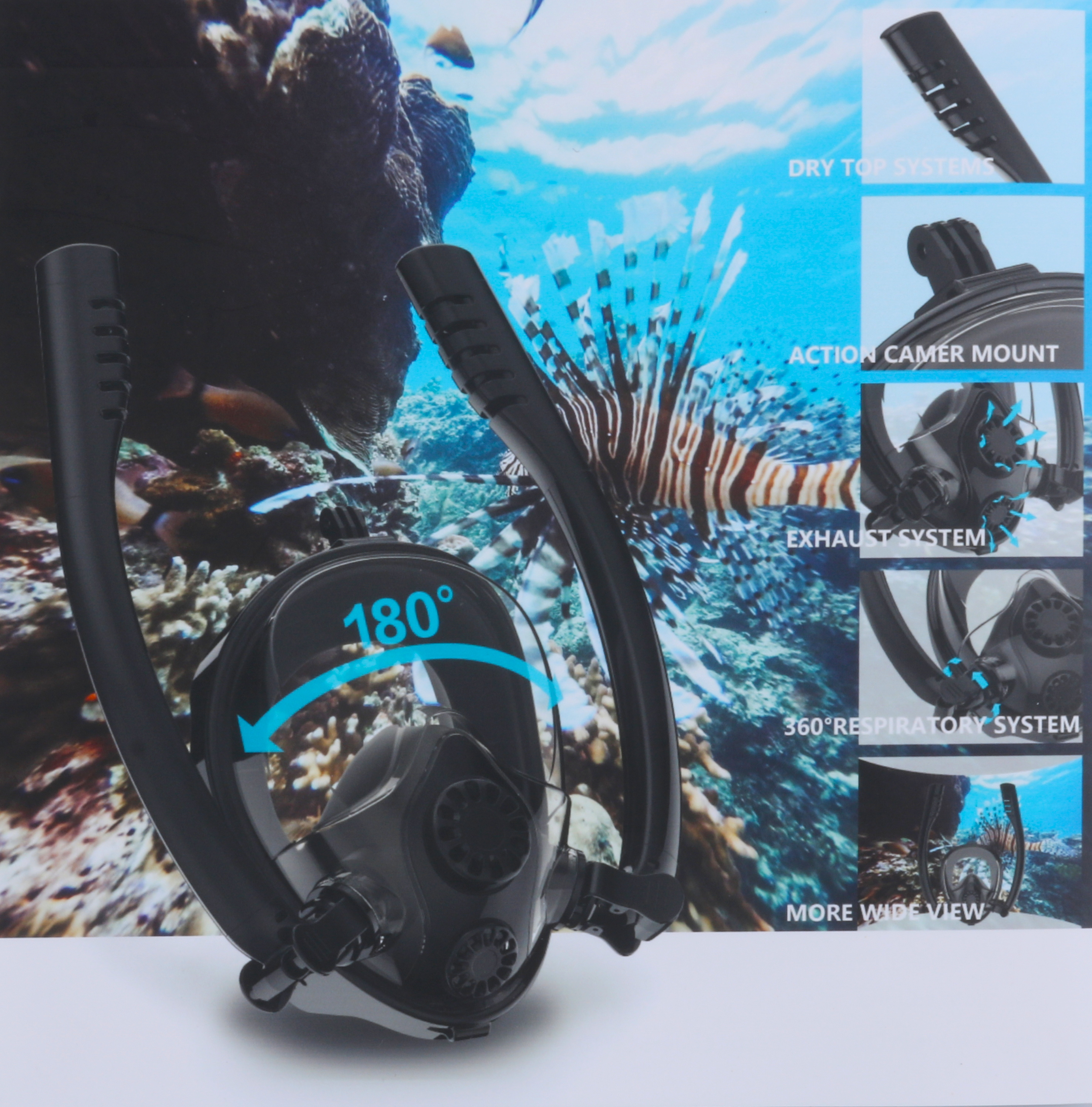 Underwater Anti Fog Diving Mask Snorkel Swimming Training Scuba Mergulho 2 In 1 Full Face Snorkeling Mask For Men Kid