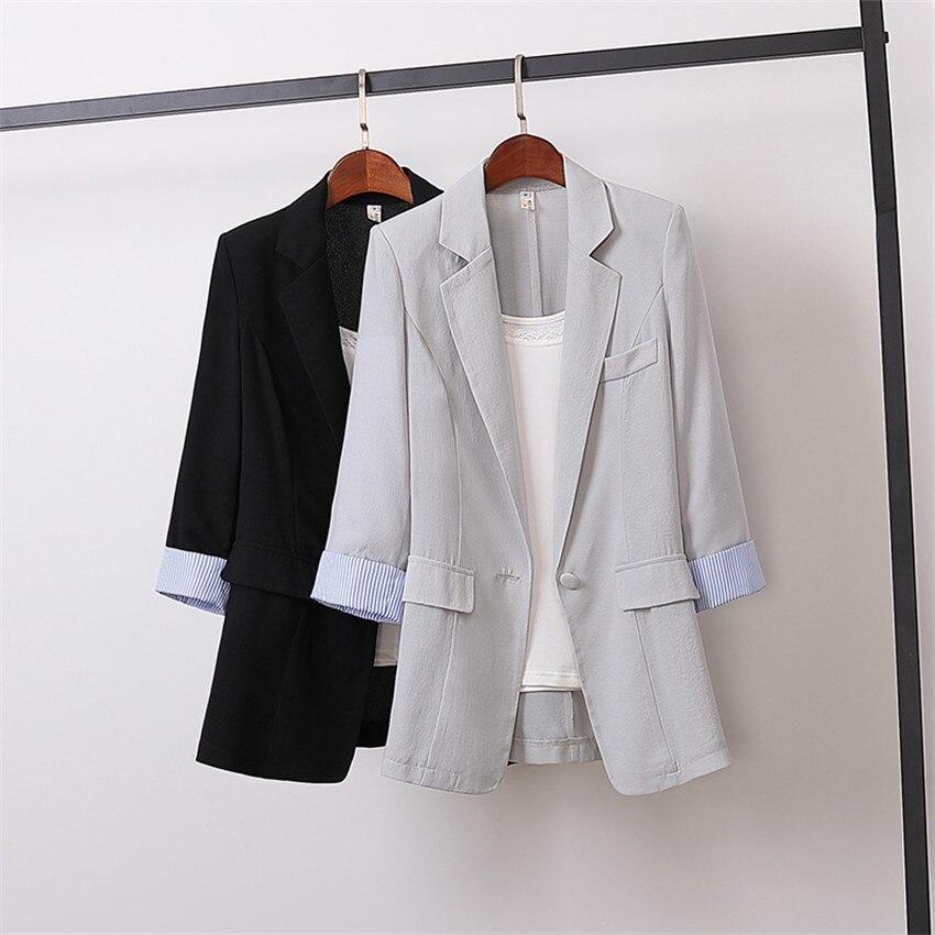 Autmn Big Size M-4XL Women Cotton And Linen Blazer Formal Suits Spring Midi-long Blazers Lady Suit Thin Sun Protection Coat 1067