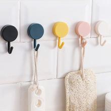 10pcs simple pink yellow blue round self adhesive bathroom hooks