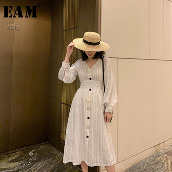 [EAM] Women White Striped Shell Button Elegant Dress New V-Neck Long Sleeve Loose Fit Fashion Tide Spring Summer 2020 1W493