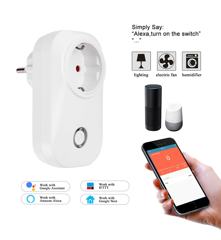 <font><b>EU</b></font> Wifi Smart <font><b>Socket</b></font> Power Switch <font><b>EU</b></font> Plug with energy monitoring APP/Voice <font><b>Remote</b></font> Control with Alexa and google for Smart home image