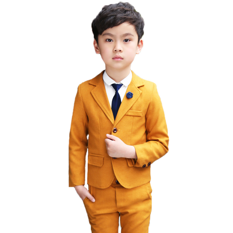 2020 New Fashion Kids Brand Yellow Blazer +Pants Clothing Set Flower Boy Wedding Suit Children Birthday Party Wear 2-12T 1