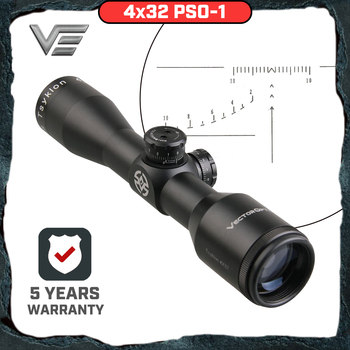 Vector Optics Tsyklon 4x32 Compact Rifle Scope with Glass Etched SVD Style Reticle 1/2 inch Turret Adjust Desinged for SKS