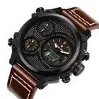 KADEMAN Montre Homme повседневные мужские наручные часы несколько часовых поясов двойные военные часы Неделя кожаный ремень Relojes Para Hombre подарок